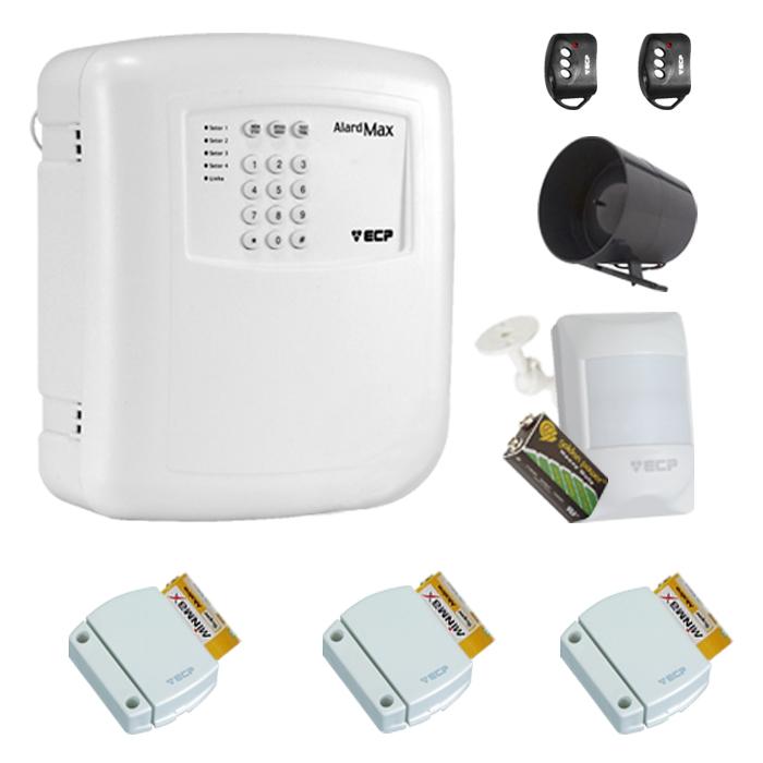 Kit de Alarme Residencial, Comercial com 04 Sensores sem fio ECP + 02 Controle Remoto, aviso de disparo por Telefone