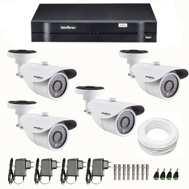 Kit de Câmeras de Segurança - DVR Intelbras 4 Ch G2 Tribrido HDCVI + 4 Câmeras Infra VM 3120 960H + Acessórios