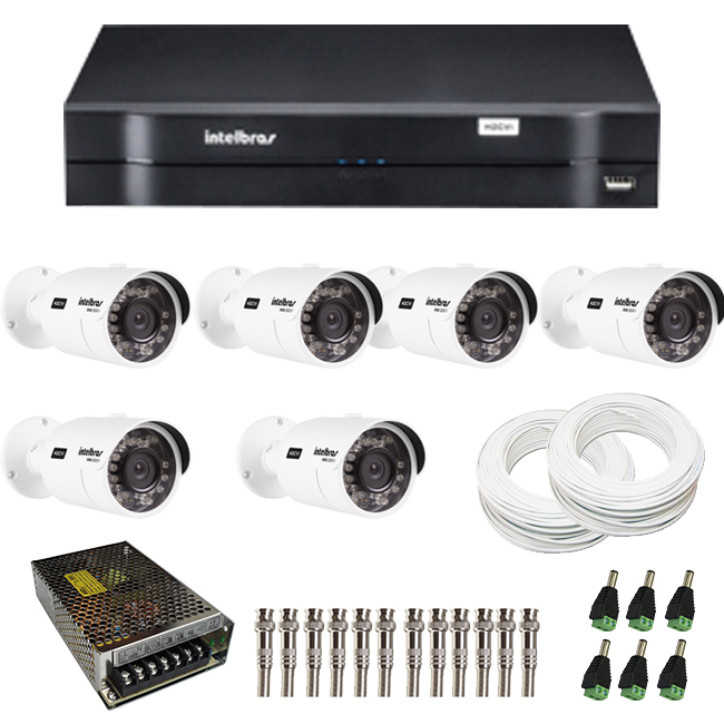 Kit de Câmeras de Segurança - DVR Intelbras 8 Ch G2 Tríbrido HDCVI + 6 Câmeras Infra VHD 3120B G2 HD 720p + Acessórios