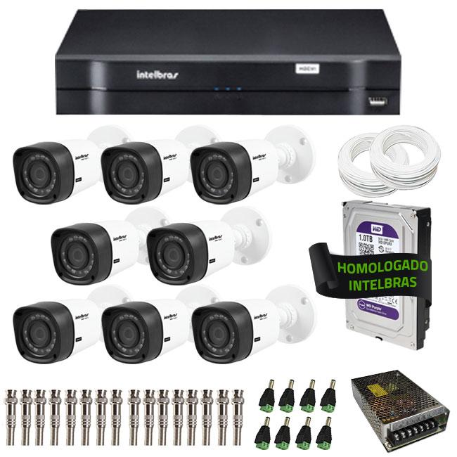 Kit de Câmeras de Segurança - DVR Intelbras 8 Ch G2 Tríbrido HDCVI + 8 Câmeras Infra VHD 1120B G2 HD 720p + HD WD Purple 1TB + Acessórios