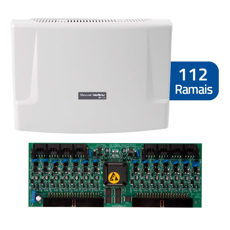 Kit Central de Interfone Condomínio com 112 Ramais - Intelbras CP 112 + Placas Desbalanceadas