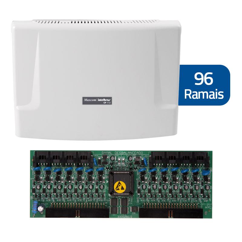 Kit Central de Interfonia e Comunicação Condominial + Placa p/ 112 Ramais - Intelbras CP 112