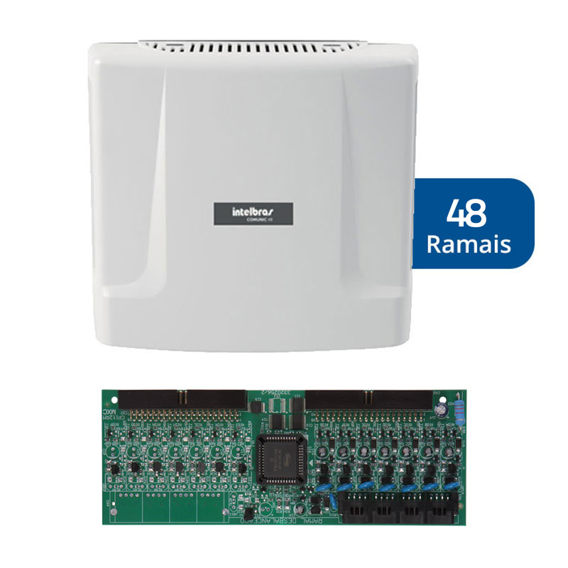 Kit Central de Interfonia e Comunicação Condominial + Placa p/ 48 Ramais - Intelbras Comunic 48