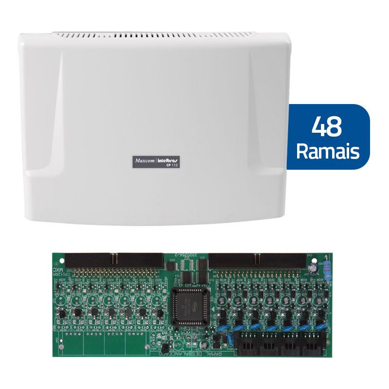 Kit Central de Interfonia e Comunicação Condominial + Placa p/ 48 Ramais - Intelbras CP 112