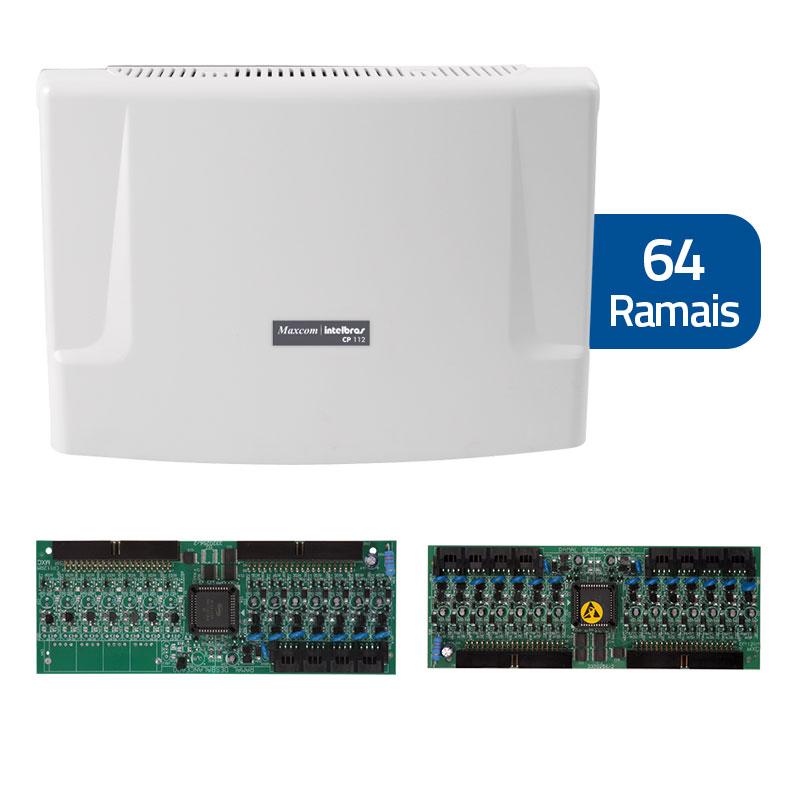 Kit Central de Interfonia e Comunicação Condominial + Placa p/ 64 Ramais - Intelbras CP 112