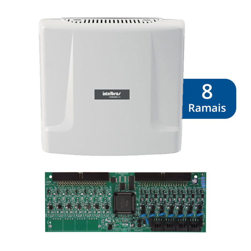 Kit Central de Interfonia e Comunicação Condominial + Placa p/ 8 Ramais - Intelbras Comunic 48