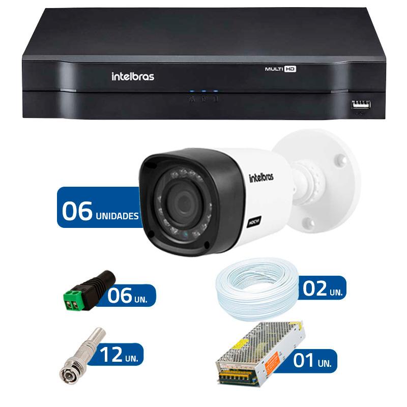 Kit CFTV 6 Câmeras Infra 720p Intelbras VHD 1010B + DVR Intelbras Multi HD + Acessórios