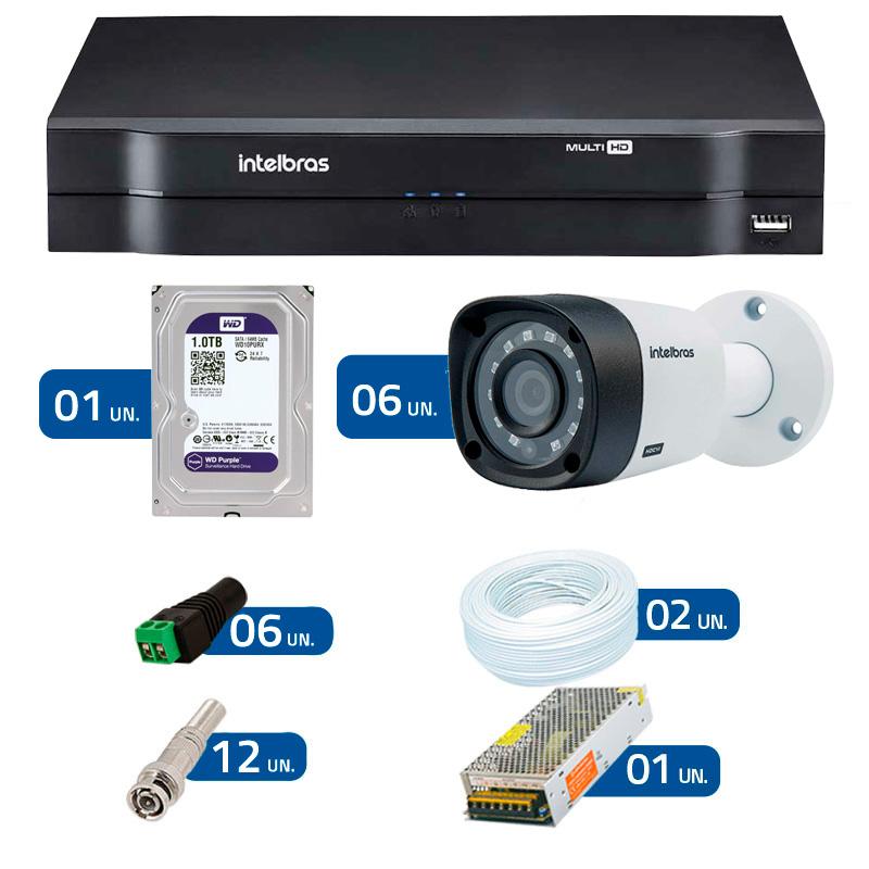 Kit CFTV 6 Câmeras Infra 720p Intelbras VHD 1010B + DVR Intelbras Multi HD + HD WD Purple + Acessórios