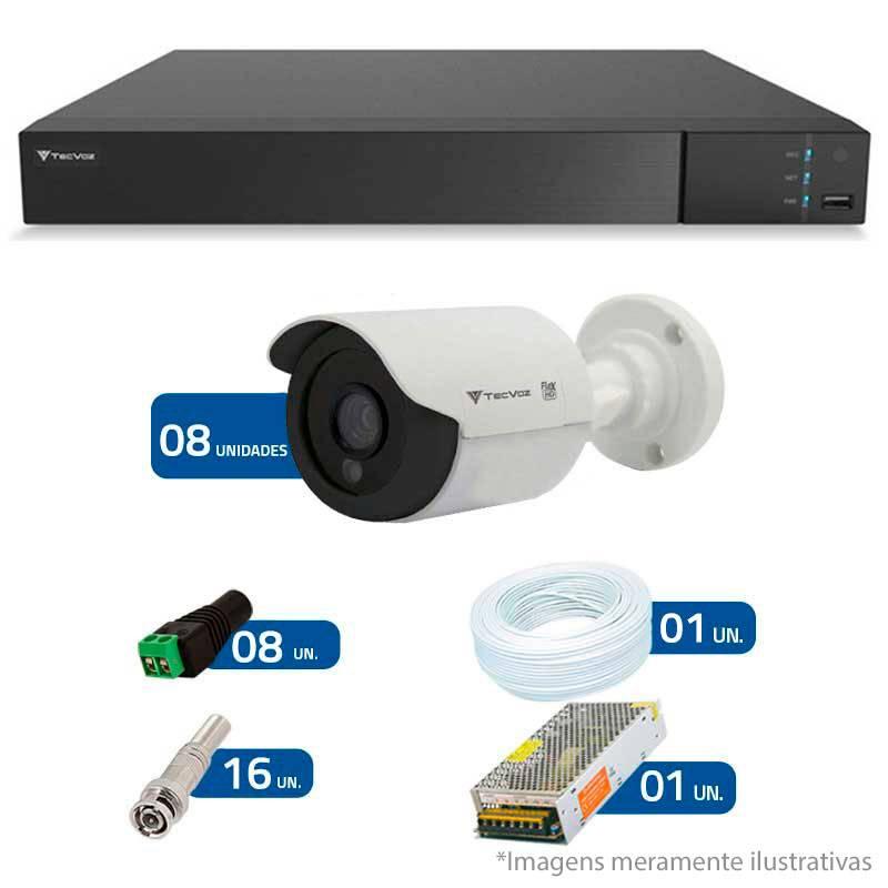 Kit CFTV 8 Câmeras Infra Tecvoz HD 720p CCB-128P + DVR Flex Tecvoz + Acessórios
