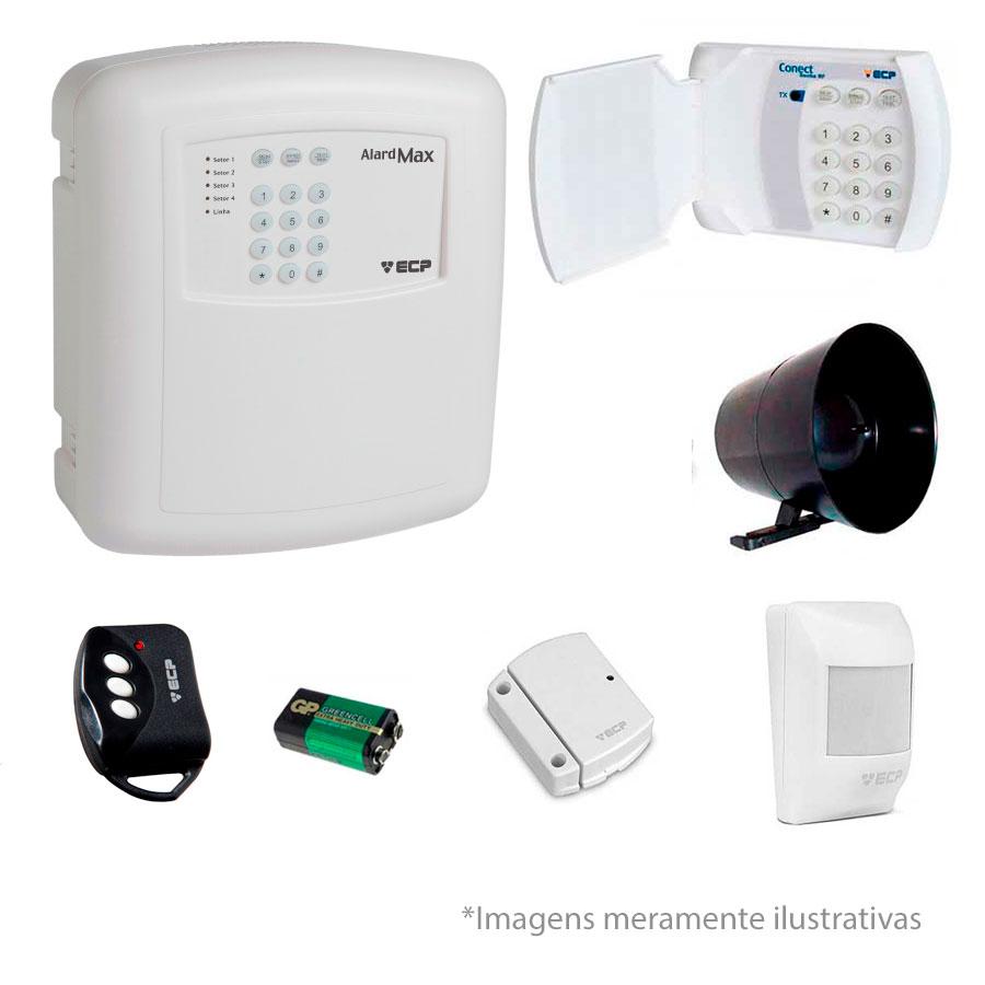 Kit de Alarme ECP 02 Sensores Sem Fio + Teclado Conect Senha RF Sem Fio ECP