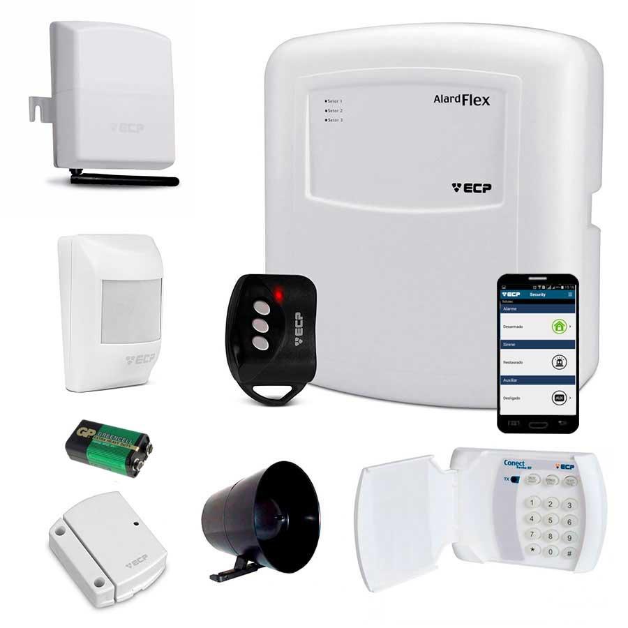 Kit de Alarme Simples ECP com Discadora GSM Connect Cell GSM e Teclado Conect Senha RF Sem FIo ECP
