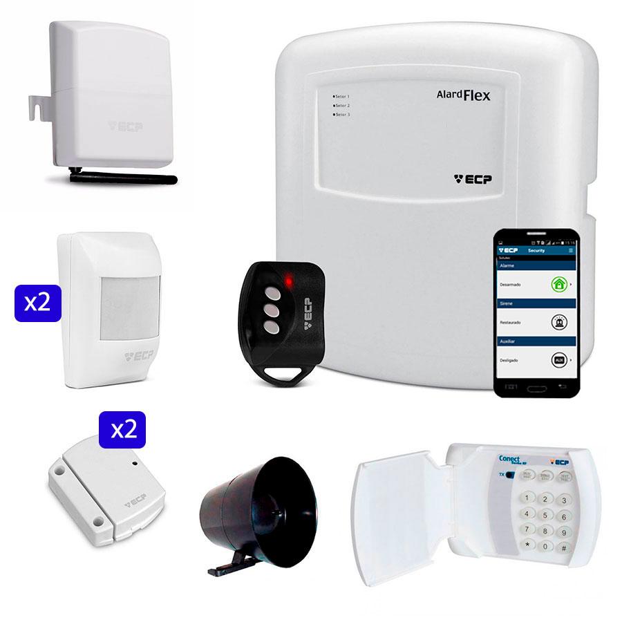 Kit de Alarme Discadora GSM Connect Cell e Teclado Conect Senha RF Sem FIo ECP