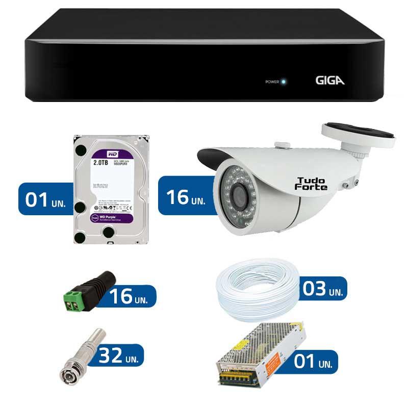 Kit de Câmeras de Segurança - DVR Giga Security 16 Ch Tri-Híbrido AHD + 16 Câmeras Bullet Infravermelho 1000 Linhas Tudo Forte 2,8mm IP66 +  HD WD Purple + Acessórios