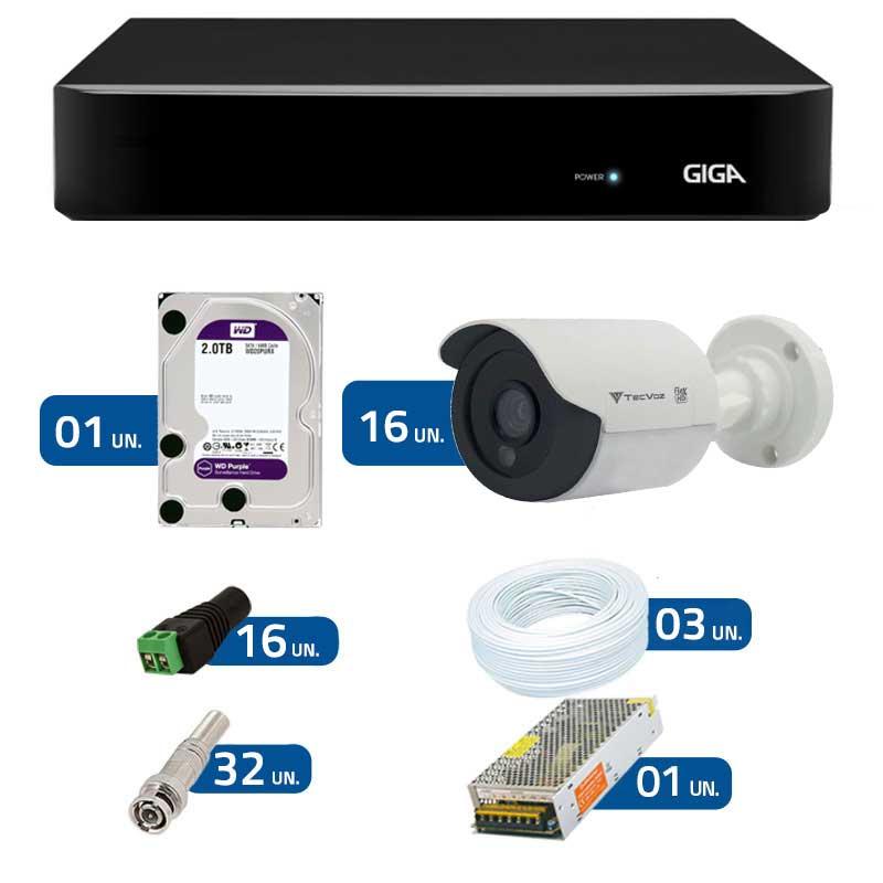 Kit de Câmeras de Segurança - DVR Giga Security 16 Ch Tri-Híbrido AHD + 16 Câmeras Bullet Infravermelho Flex 4 em 1 Tecvoz QCB-136P HD 720p 1.0M + HD WD Purple + Acessórios