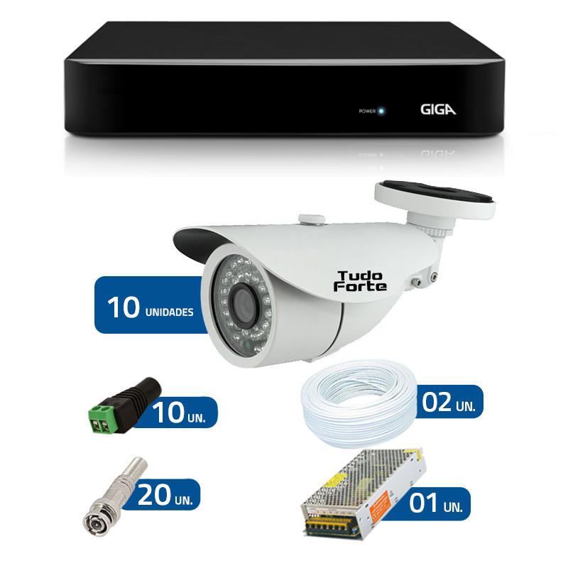 Kit de Câmeras de Segurança - DVR Giga Security 16 Ch Tri-Híbrido AHD + 10 Câmeras Bullet Infravermelho AHD M Tudo Forte HD 720p 1.0M 3,6mm 36 Leds IP 66  IR 30 metros  + Acessórios