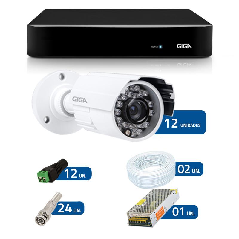 Kit de Câmeras de Segurança - DVR Giga Security 16 Ch Tri-Híbrido AHD + 12 Câmeras Bullet Infravermelho Giga Security AHD GSHD15CTB HD 720p 3,6mm + Acessórios