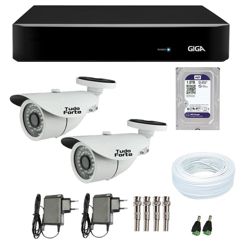 Kit de Câmeras de Segurança - DVR Giga Security 4 Ch Tri-Híbrido AHD + 2 Câmeras Bullet Infravermelho 1000 Linhas Tudo Forte 2,8mm IP66 + HD WD Purple + Acessórios