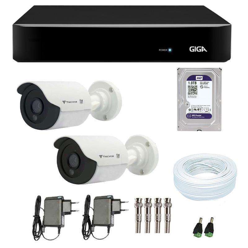 Kit de Câmeras de Segurança - DVR Giga Security 4 Ch Tri-Híbrido AHD + 2 Câmeras Bullet Infravermelho Flex 4 em 1 Tecvoz QCB-136P HD 720p 1.0M + HD WD Purple + Acessórios