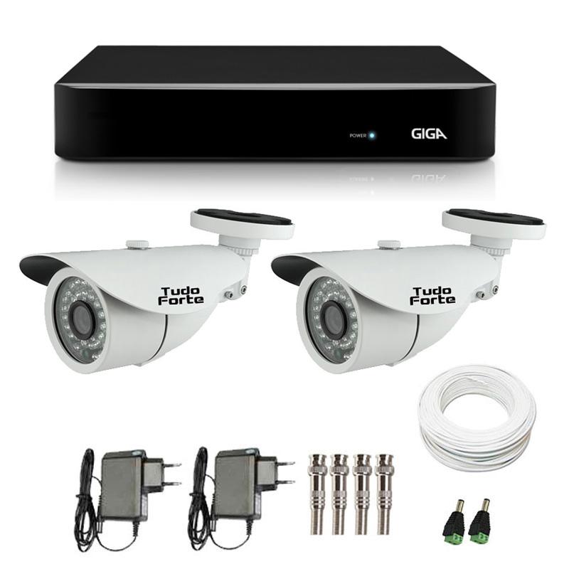 Kit CFTV 2 Câmeras Infra 720p Tudo Forte AHD M + DVR Giga Security AHD  + Acessórios