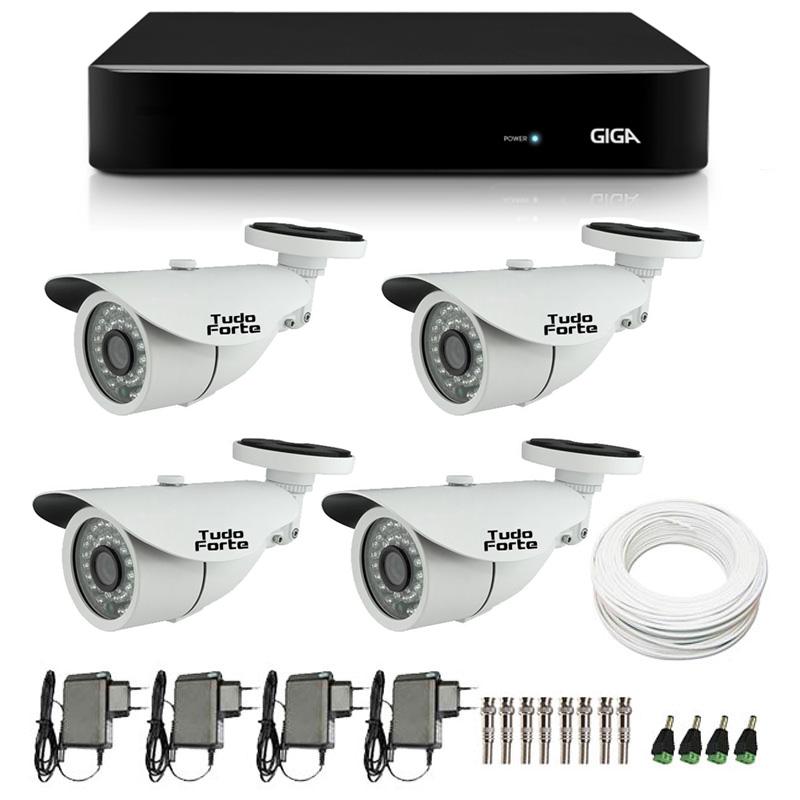 Kit de Câmeras de Segurança - DVR Giga Security 4 Ch Tri-Híbrido AHD + 4 Câmeras Bullet Infravermelho AHD M Tudo Forte HD 720p 1.0M 3,6mm 36 Leds IP 66 IR 30 metros+ Acessórios