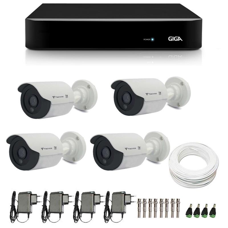 Kit de Câmeras de Segurança - DVR Giga Security 4 Ch Tri-Híbrido AHD + 4 Câmeras Bullet Infravermelho Flex 4 em 1 Tecvoz QCB-136P HD 720p 1.0M + Acessórios