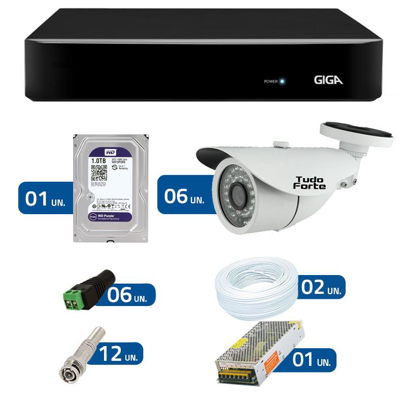 Kit de Câmeras de Segurança - DVR Giga Security 8 Ch Tri-Híbrido AHD + 6 Câmeras Bullet Infravermelho AHD M  Tudo Forte HD 720p 1.0M 3,6mm 36 Leds IP 66 IR 30 metros + HD WD Purple + Acessórios