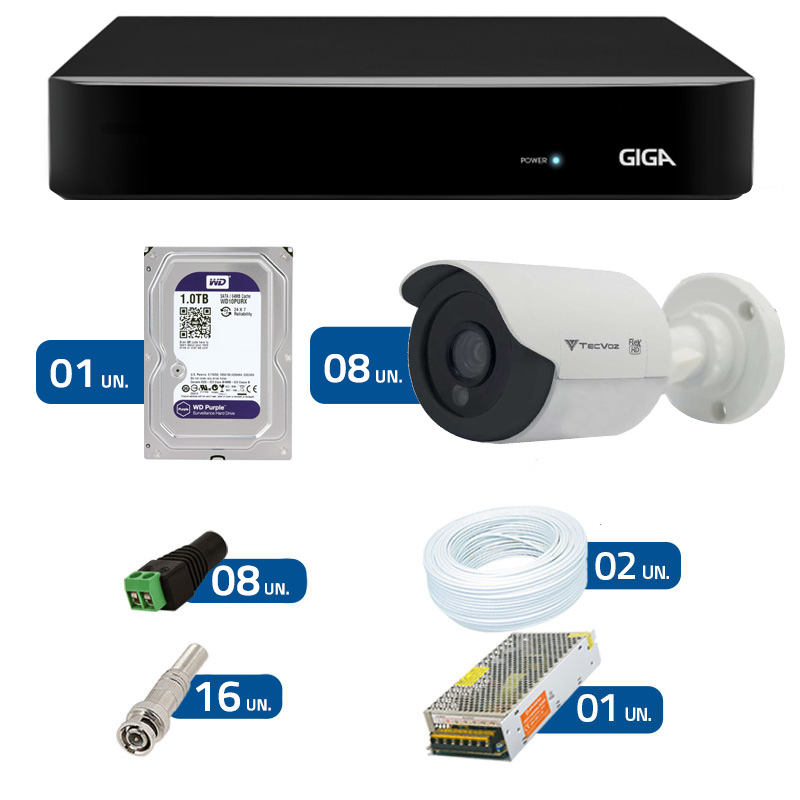 Kit de Câmeras de Segurança - DVR Giga Security 8 Ch Tri-Híbrido AHD + 8 Câmeras Bullet Infravermelho Flex 4 em 1 Tecvoz QCB-136P HD 720p 1.0M + HD WD Purple  + Acessórios
