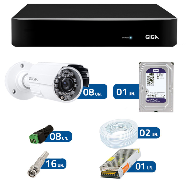 Kit de Câmeras de Segurança - DVR Giga Security 8 Ch Tri-Híbrido AHD + 8 Câmeras Bullet Infravermelho Giga Security AHD GSHD15CTB HD 720p 3,6mm + HD WD Purple + Acessórios