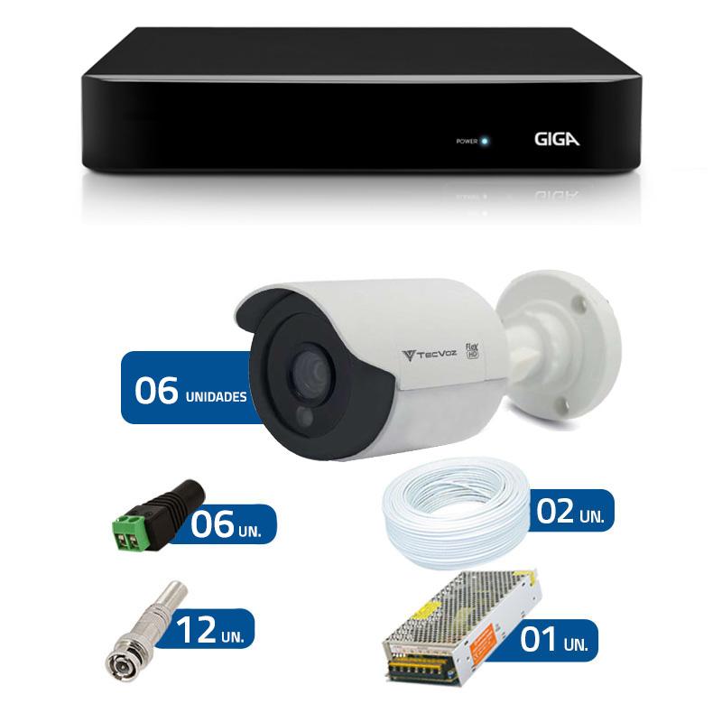 Kit de Câmeras de Segurança - DVR Giga Security 8 Ch Tri-Híbrido AHD + 6 Câmeras Bullet Infravermelho Flex 4 em 1 Tecvoz QCB-136P HD 720p 1.0M + Acessórios