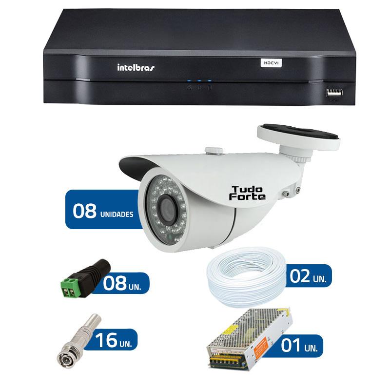 Kit de Câmeras de Segurança - DVR Intelbras 1008 8 Ch G2 + 8 Câmeras Bullet Infravermelho 1000 Linhas Tudo Forte 2,8mm IP66 + Acessórios