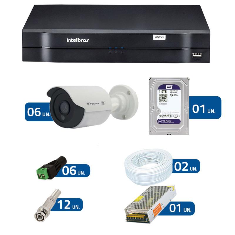 Kit de Câmeras de Segurança - DVR Intelbras 1008 8 Ch G2 HDCVI + 6 Câmeras Bullet Infravermelho Flex 4 em 1 Tecvoz QCB-136P HD 720p 1.0M + HD WD Purple 1TB + Acessórios