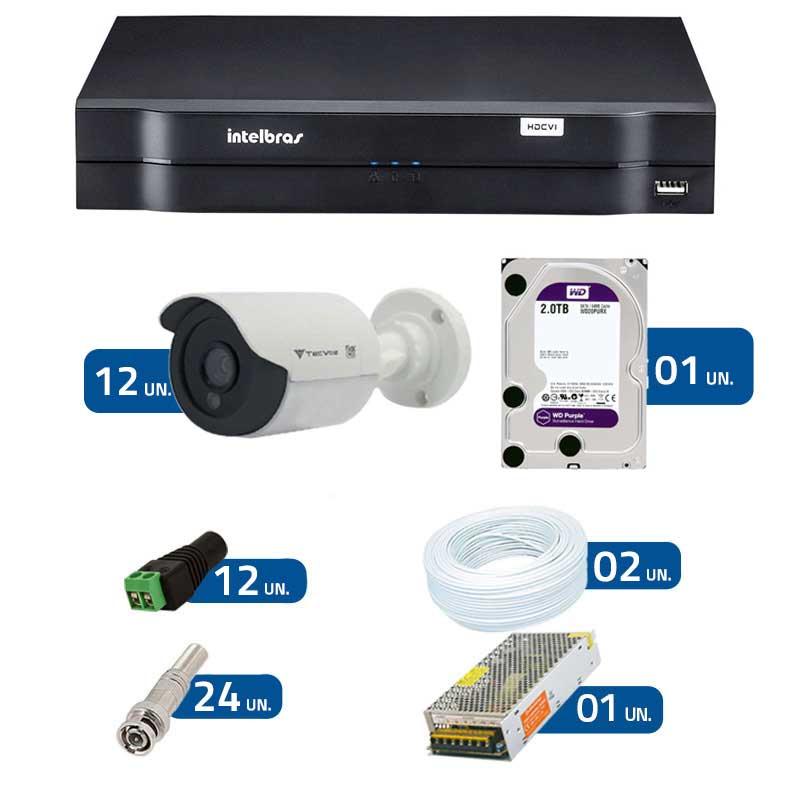 Kit CFTV 12 Câmeras Infra 720p Flex 4 em 1 QCB-136P + DVR Intelbras Multi HD + HD WD Purple + Acessórios