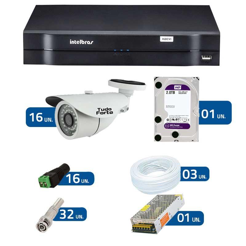 Kit de Câmeras de Segurança - DVR Intelbras 1016 16 Ch G2 + 16 Câmeras Bullet Infravermelho 1000 Linhas Tudo Forte 2,8mm IP66 + HD WD Purple + Acessórios