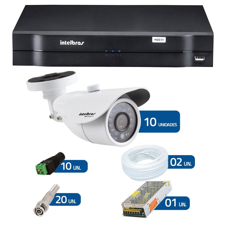 Kit CFTV 10 Câmeras Infra 720p Intelbras VM 3120 IR G3 + DVR Intelbras Multi HD + Acessórios