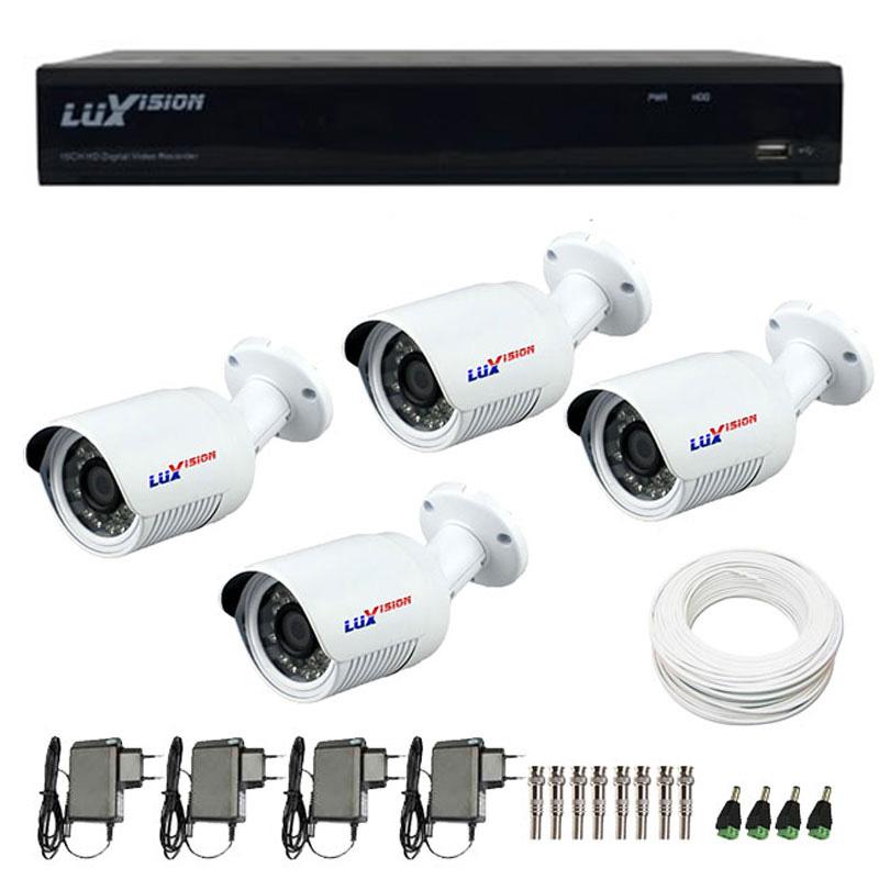 Kit de Câmeras de Segurança - DVR Stand Alone Híbrido AHD Luxvision ECD 4 Canais + 4 Câmeras Infra Luxvision HD 720p + Acessórios