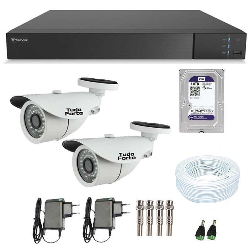 Kit de Câmeras de Segurança - DVR Stand Alone Tecvoz 04 Ch Flex 4 em 1 + 2  Câmeras Bullet Infravermelho 1000 Linhas Tudo Forte 2,8mm IP66 + HD WD Purple + Acessórios