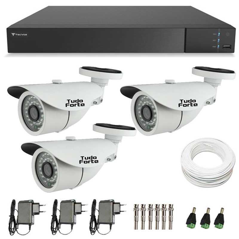Kit de Câmeras de Segurança - DVR Stand Alone Tecvoz 04 Ch Flex 4 em 1 + 3 Câmeras Bullet Infravermelho 1000 Linhas Tudo Forte 2,8mm IP66 + Acessórios