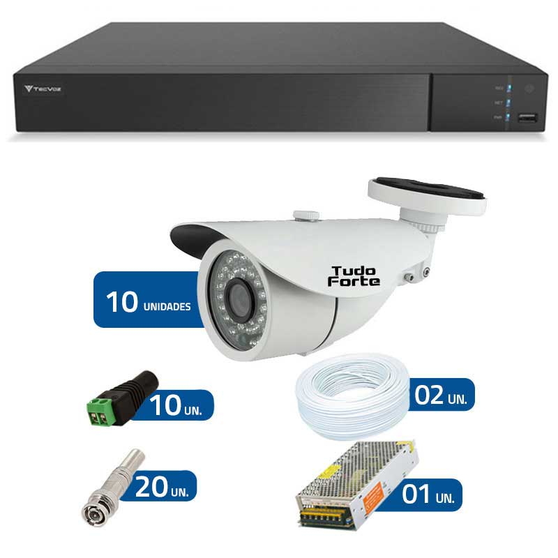 Kit de Câmeras de Segurança - DVR Stand Alone Tecvoz 16 Ch Flex 4 em 1 + 10 Câmeras Bullet Infravermelho 1000 Linhas Tudo Forte 2,8mm IP66 + Acessórios