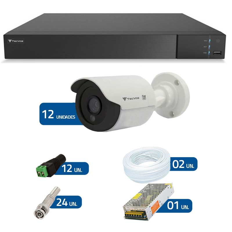 Kit de Câmeras de Segurança - DVR Stand Alone Tecvoz 16 Ch Flex 4 em 1 + 12 Câmeras Bullet Infravermelho Flex 4 em 1 Tecvoz QCB-136P HD 720p 1.0M + Acessórios