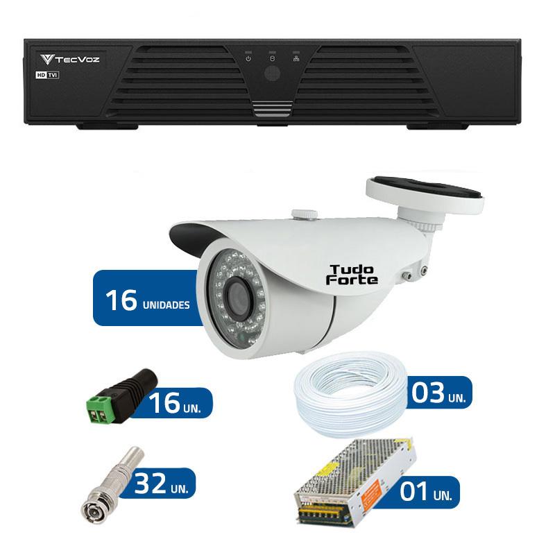 Kit de Câmeras de Segurança - DVR Tecvoz 16 Ch T1-LTVI16 + 16 Câmeras Bullet Infravermelho 1000 Linhas Tudo Forte 2,8mm IP66 + Acessórios