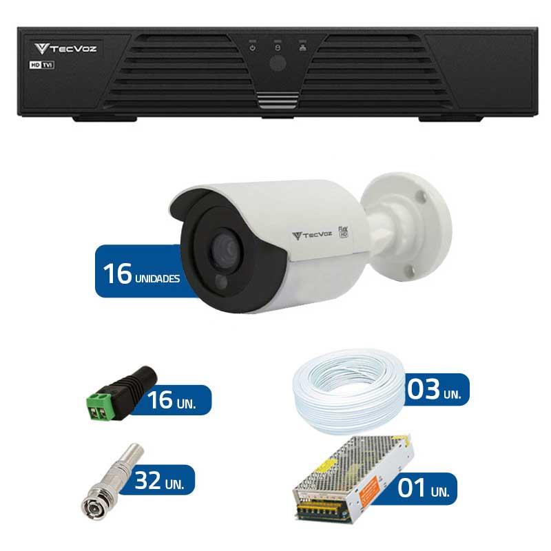 Kit de Câmeras de Segurança - DVR Tecvoz 16 Ch Tríbrido HDTVI + 16 Câmeras Bullet Infravermelho Flex 4 em 1 Tecvoz QCB-136P HD 720p 1.0M + Acessórios