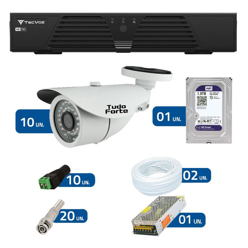 Kit de Câmeras de Segurança - DVR Tecvoz 16 Ch T1-LTVI16 + 10 Câmeras Bullet Infravermelho 1000 Linhas Tudo Forte 2,8mm IP66 + HD WD Purple + Acessórios