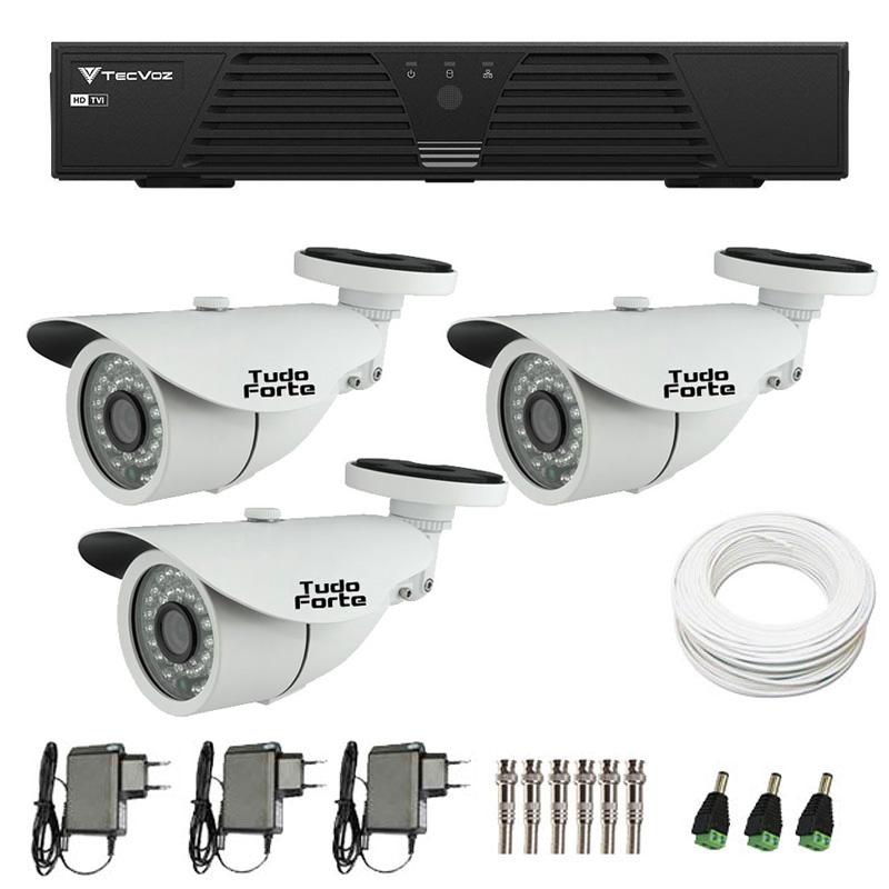 Kit de Câmeras de Segurança - DVR Tecvoz 4 Ch T1-LTVI04 + 3 Câmeras Bullet Infravermelho 1000 Linhas Tudo Forte 2,8mm IP66 + Acessórios