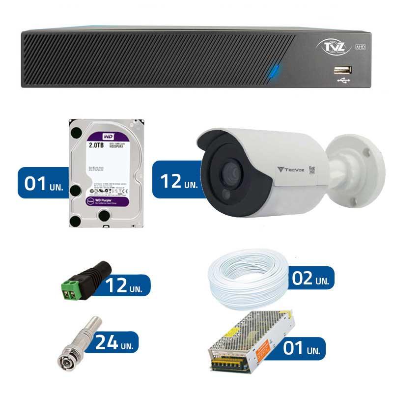 Kit de Câmeras de Segurança - DVR TVZ Security 16 Ch AHD M + 12 Câmeras Bullet Infravermelho Flex 4 em 1 Tecvoz QCB-136P HD 720p 1.0M + HD WD Purple + Acessórios