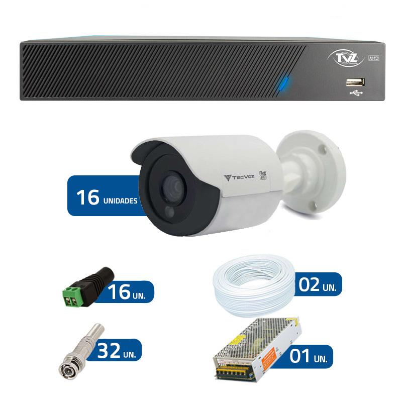 Kit de Câmeras de Segurança - DVR TVZ Security 16 Ch AHD M + 16 Câmeras Bullet Infravermelho Flex 4 em 1 Tecvoz QCB-136P HD 720p 1.0M + Acessórios