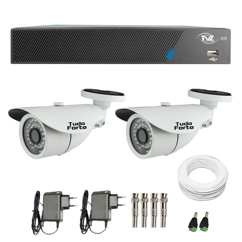 Kit de Câmeras de Segurança - DVR TVZ Security 4 Ch AHD M + 2  Câmeras Bullet Infravermelho AHD M Tudo Forte HD 720p 1.0M 3,6mm 36 Leds IP 66 IR 30 metros + Acessórios