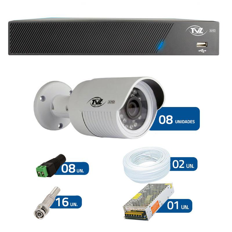 Kit de Câmeras de Segurança - DVR TVZ Security 8 Ch AHD M + 8 Câmeras Bullet AHD-BL1 TVZ Tecvoz Hibrida HD 720p lente HD 3.6mm + Acessórios