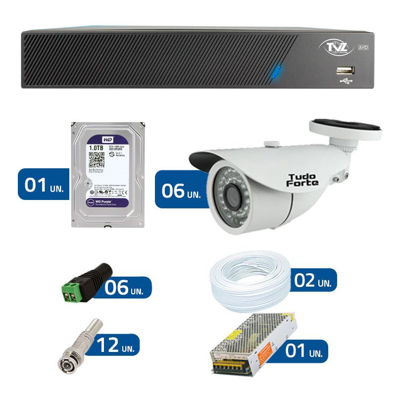 Kit de Câmeras de Segurança - DVR TVZ Security 8 Ch AHD M + 6 Câmeras Bullet Infravermelho AHD M Tudo Forte HD 720p 1.0M 3,6mm 36 Leds IP 66 IR 30 metros + HD WD Purple + Acessórios
