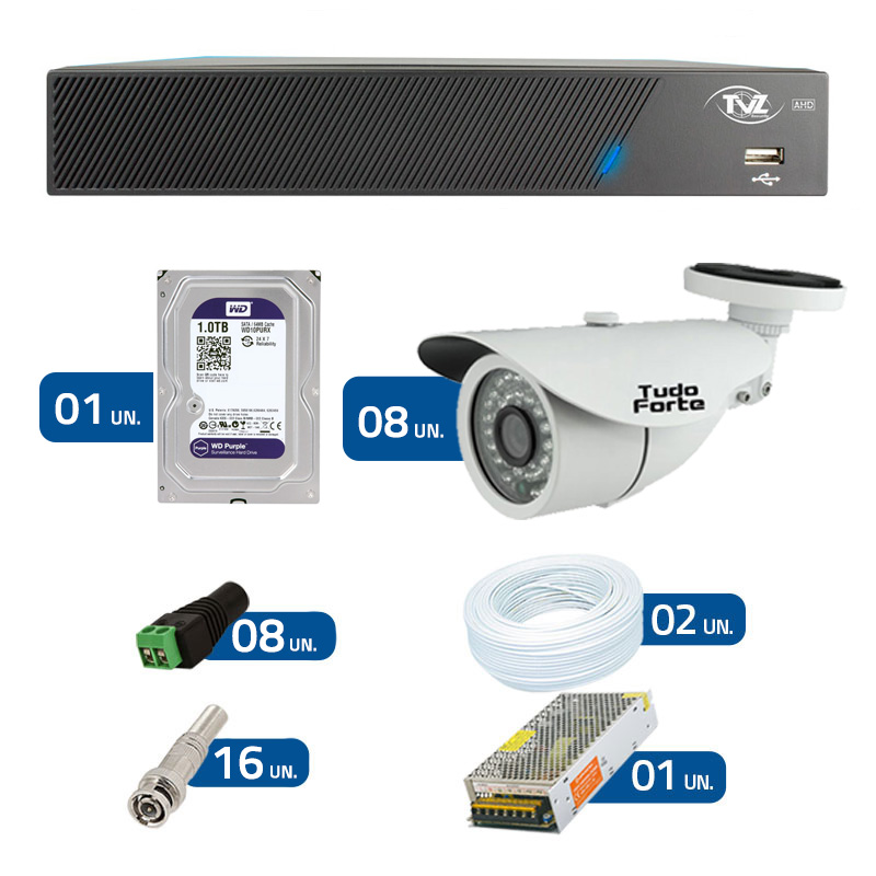 Kit de Câmeras de Segurança - DVR TVZ Security 8 Ch AHD M + 8 Câmeras Bullet Infravermelho AHD M Tudo Forte HD 720p 1.0M 3,6mm 36 Leds IP 66 IR 30 metros + HD WD Purple + Acessórios
