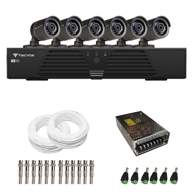 Kit de Câmeras de Segurança - DVR Tecvoz 6 Ch Tríbrido HDTVI + 6 Câmeras Infra ACB 836 800 Linhas + Acessórios